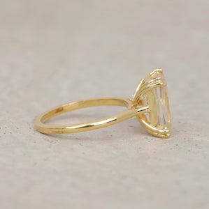 4.00 CT Near Colorless Solitaire Ring / Criss Cut Moissanite Yellow Gold Ring in 18K Solid Gold
