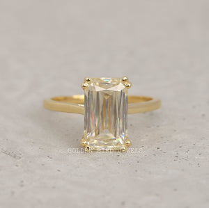 4.00 CT Near Colorless Solitaire Ring / Criss Cut Moissanite Yellow Gold Ring in 950 Platinum