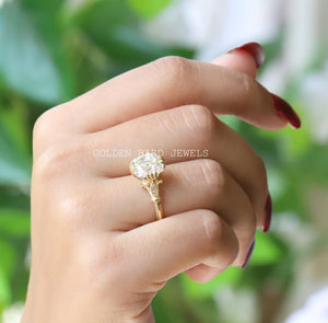 Old Mine Cushion Cut Moissanite Ring / Solitaire Yellow Gold Diamond Ring in 18K Solid Gold