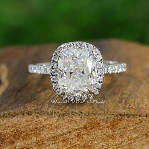 Crushed Ice Cut Ring, Diamond Ring, Moissanite Ring, Promise Ring, Halo Ring, Engagement Ring, Wedding Ring, Bridal Ring, Cushion Cut Ring, Crushed Ice Cushion