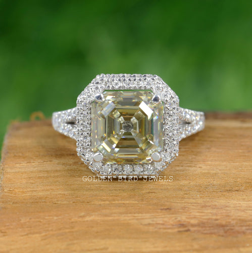 Old Mine Cut Ring, Asscher Ring, Old Mine Asscher, Yellow Moissanite, Fancy Ring, Wedding Ring, Bridal Ring, Moissanite Ring, Engagement Ring, Diamond Ring