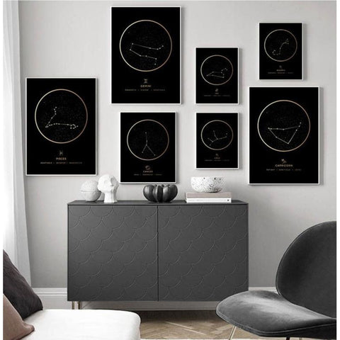 Tableaux constellations stellaires lot de toile