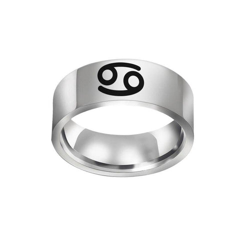bague signe astrologique argentée simple astral