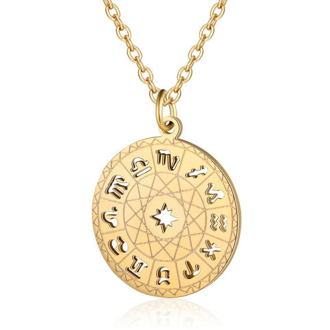 Collier signes astrologiques disque astral