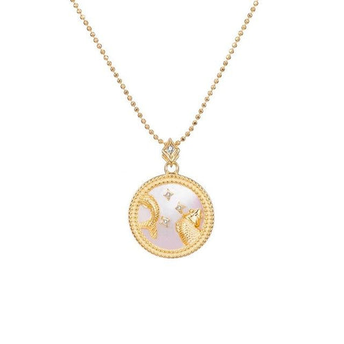 Collier signe astrologique galaxie blanche