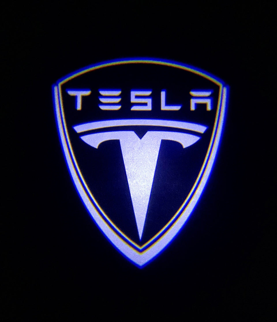 Tesla Shield White on Black Premium Puddle Light