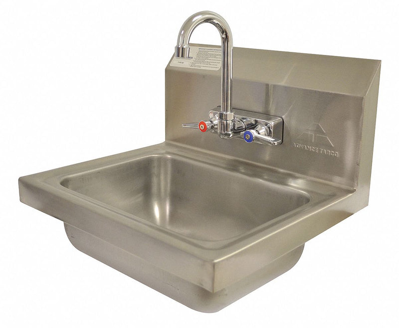 Advance Tabco Stainless Steel Hand Sink With Faucet Wall Mounting Type Silver 7 Ps 60 Sinks And Wash Fountains Sustainablesupply Com