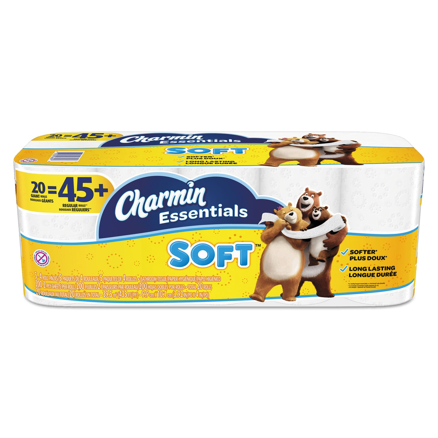 Charmin Essentials Soft Bathroom Tissue, Septic Safe, 2-Ply, White, 4 X 3.92, 200/Roll, 20 Roll/Pack - PGC96609