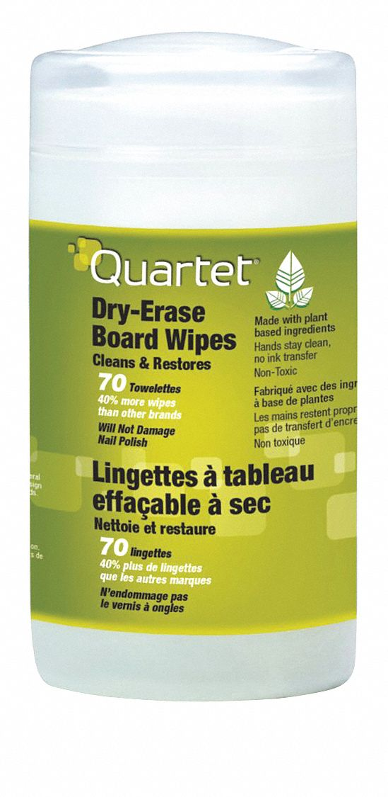 "Quartet Dry-Erase Board Cleaning Wipes, Removes Ink, Dust and Dirt, 70 Count, 7-3/4 x 5-1/2"" - 52-180032QE"
