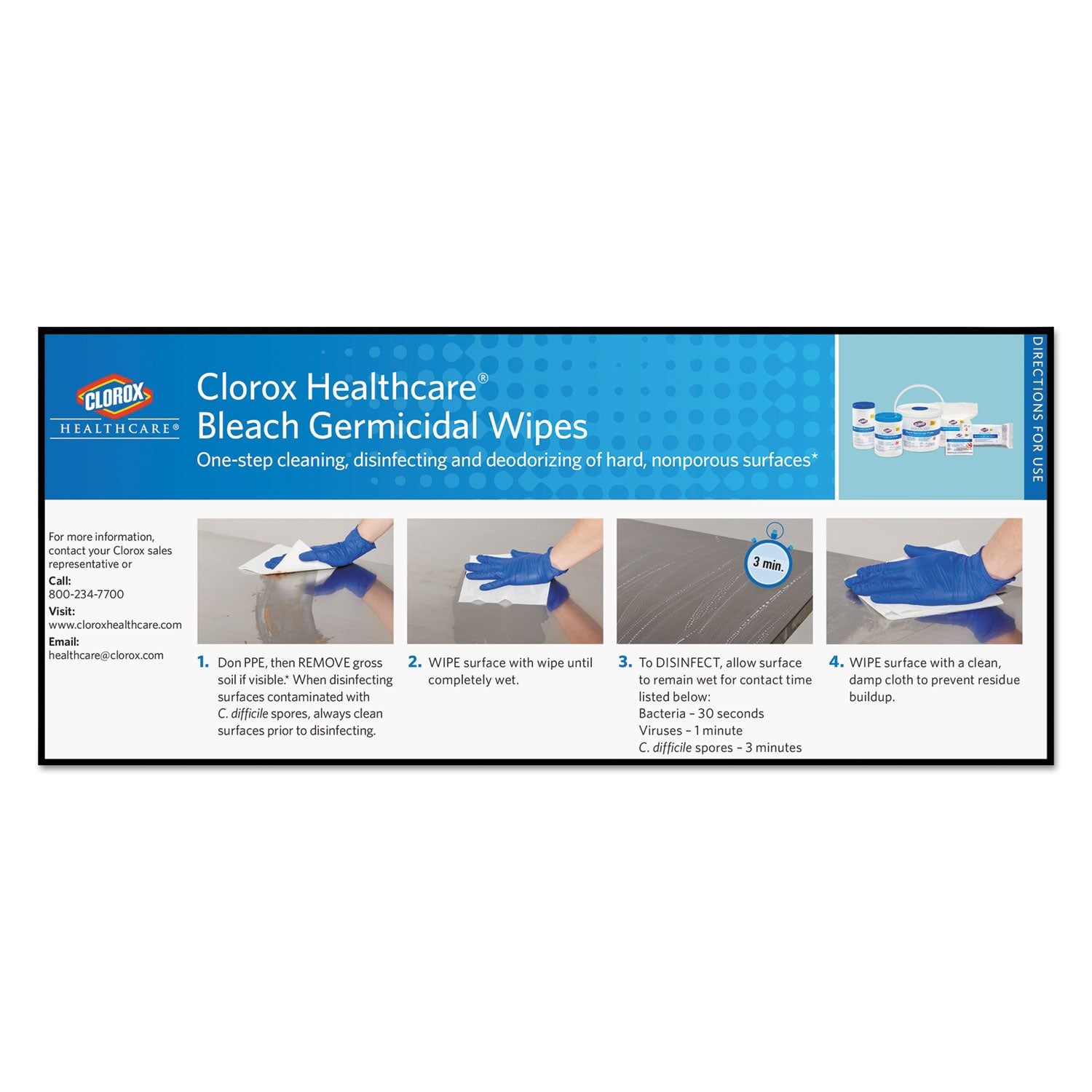 Clorox Healthcare Bleach Germicidal Wipes, 12 X 12, Unscented, 110/Refill, 2/Carton - CLO30359CT