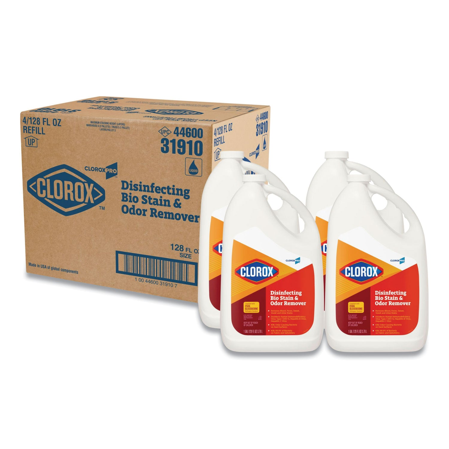 Clorox Disinfecting Bio Stain And Odor Remover, Fragranced, 128 Oz Refill Bottle, 4/Ct - CLO31910