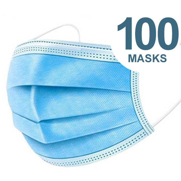 3 Ply Disposable Face Masks, Pack of 100 - 3PM-100