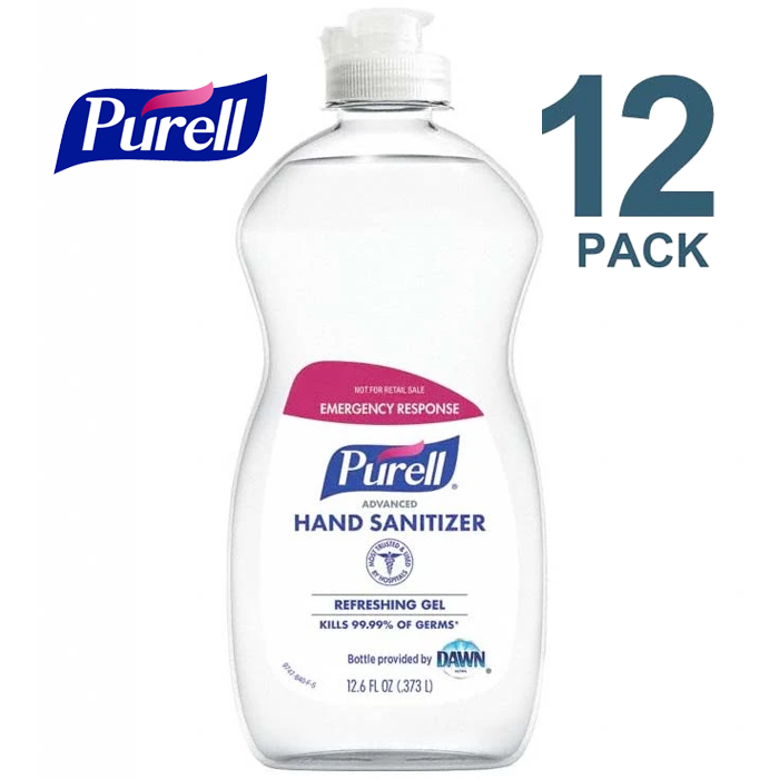 Purell Hand Sanitizer 12.6 oz Pour Bottle, 70% Ethyl Alcohol Gel, PK12 - 9747-12-S