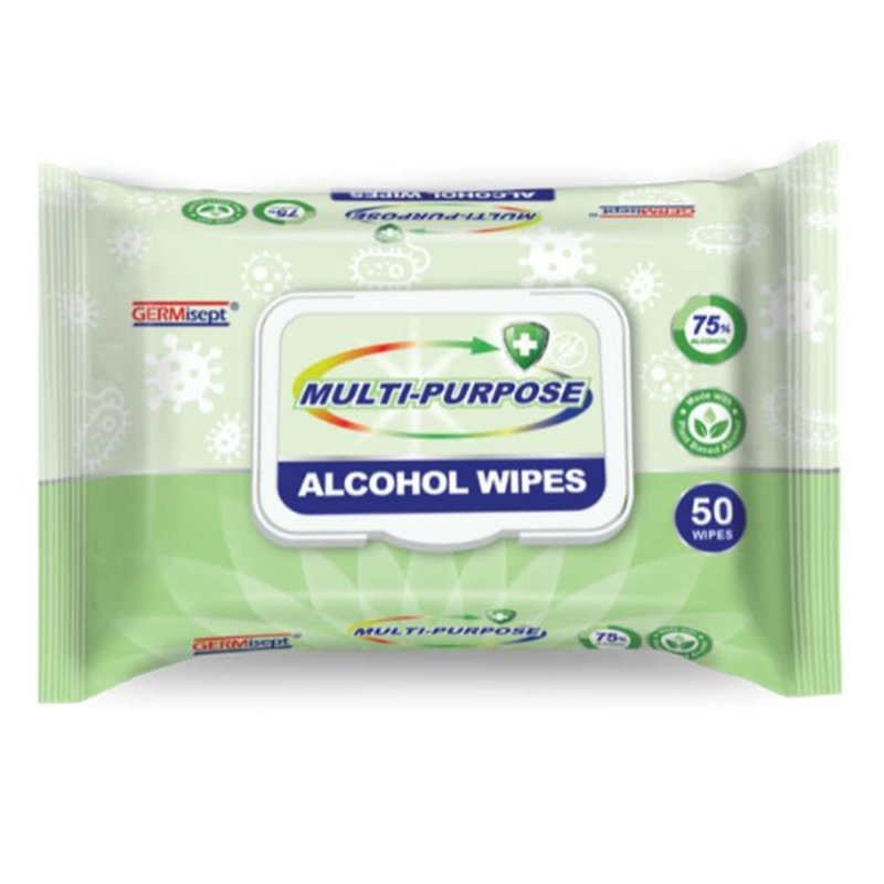 GERMisept Multi-Purpose 75% Ethanol Alcohol Wipes, 50 Wipes/Pack, 24 Packs/Carton - GS-G01440-24PK