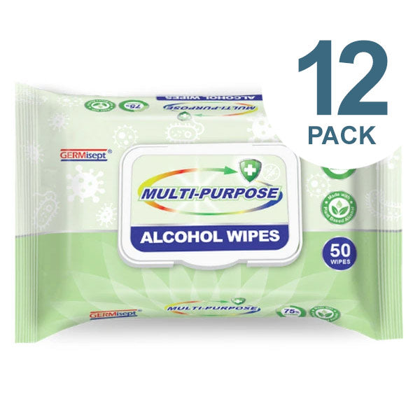 GERMisept Multi-Purpose 75% Ethanol Alcohol Wipes, 50 Wipes/Pack, 12 Packs/Carton - GS-G01440-12PK