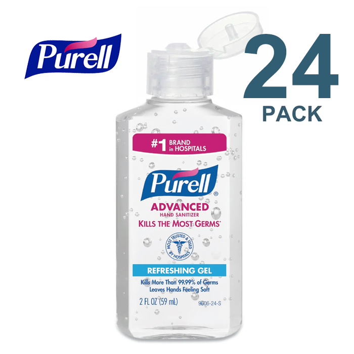Purell Hand Sanitizer 2 oz Personal Bottle, 70% Ethyl Alcohol Gel, PK24 - 9606-24-S