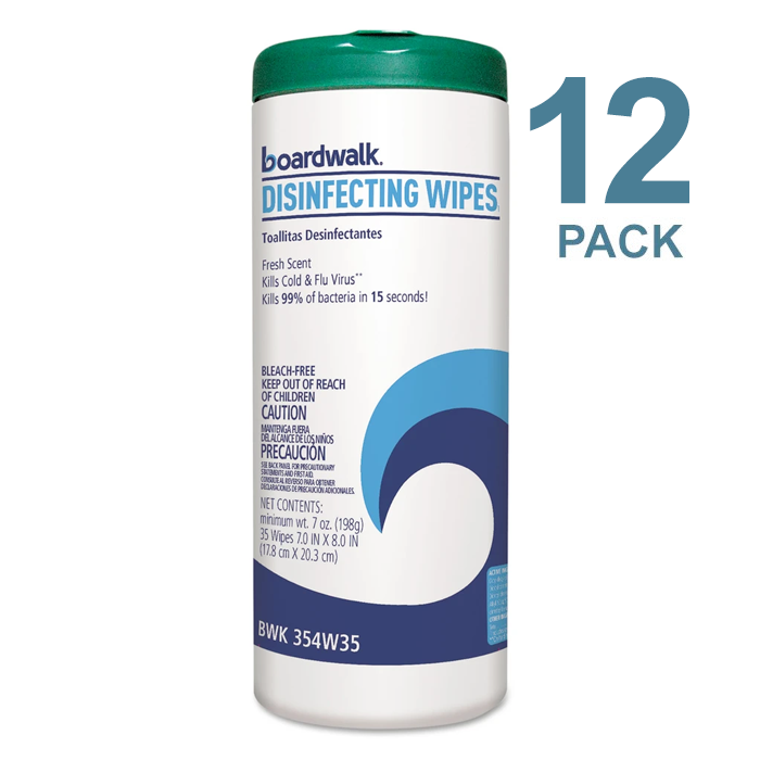Boardwalk Disinfecting Wipes, 8 X 7, Fresh Scent, 35/Canister, 12 Canisters/Carton - BWK454W35