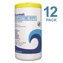 Boardwalk Disinfecting Wipes, 8 X 7, Lemon Scent, 75/Canister, 12/PK - BWK455W753CT