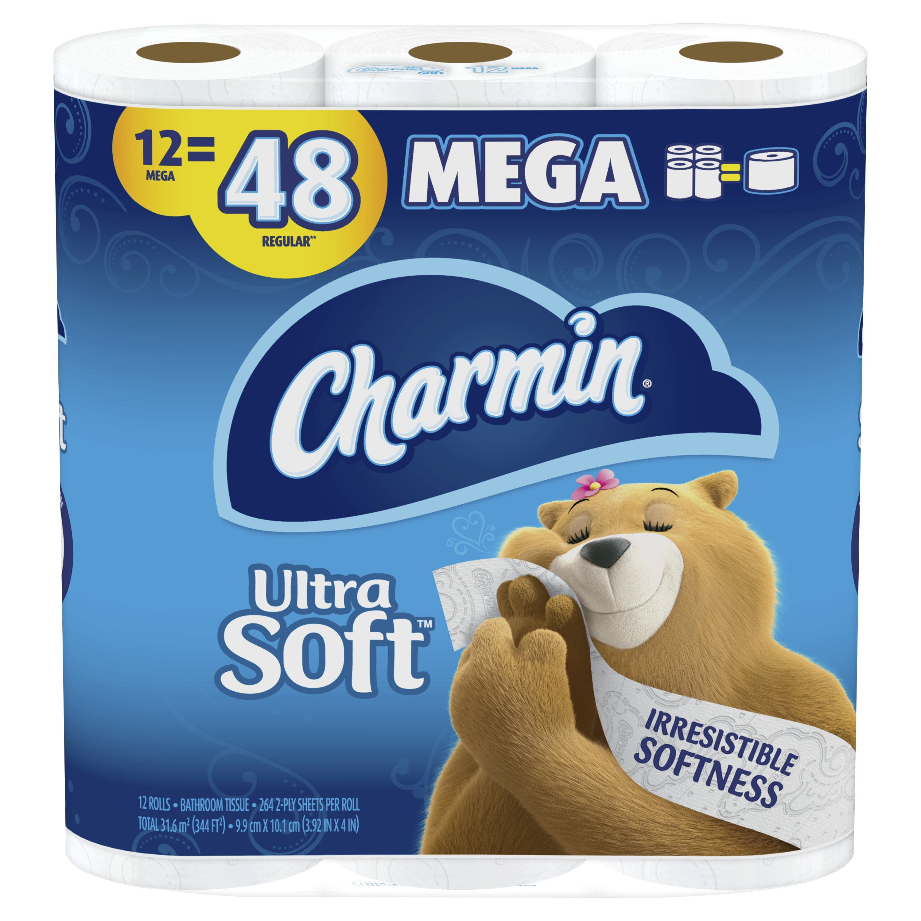 Charmin Ultra Soft Bathroom Tissue, Septic Safe, 2-Ply, White, 4 X 3.92, 264 Sheets/Roll, 12 Rolls/Pack, 4 Packs/Carton - PGC79546