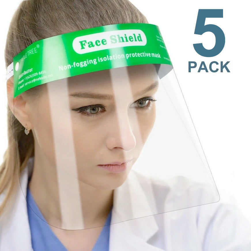 Reusable Safety Face Shield Full Protection Clear Anti-fog Visor Guard, Pack of 5 - FS-5PK-GREEN