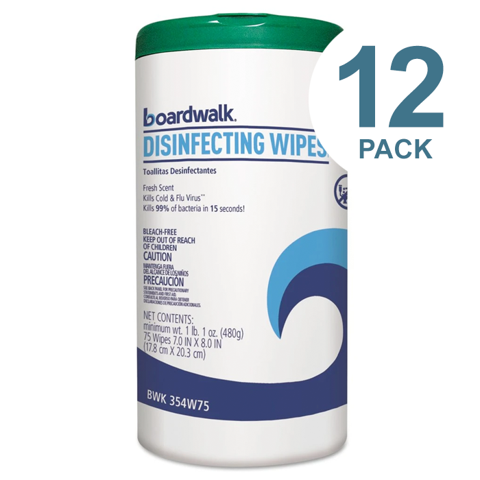 Boardwalk Disinfecting Wipes, 8 X 7, Fresh Scent, 75/Canister, 12 Canisters/Carton - BWK454W75-12PK