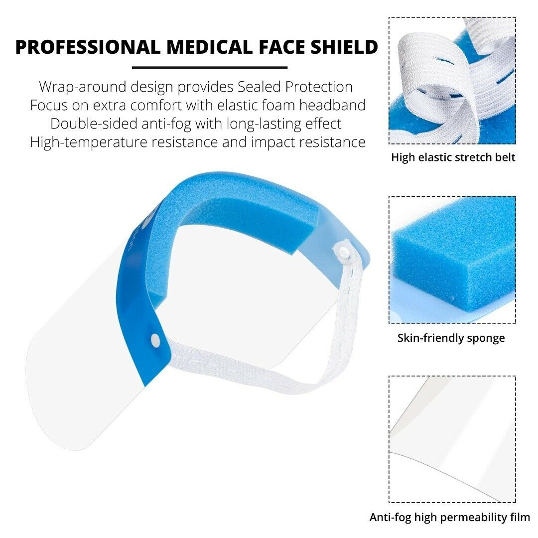 Reusable Safety Face Shield Full Protection Clear Anti-fog Visor Guard, Pack of 5 - FS-5PK-BLUE