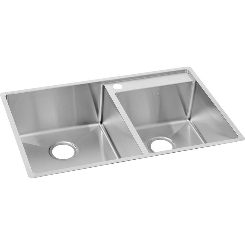 Elkay ECTRUD31199R2 18 Gauge Stainless Steel 32.5' x 20.5' x 9' Double Bowl  Undermount  Lowered Deck Kitchen Sink