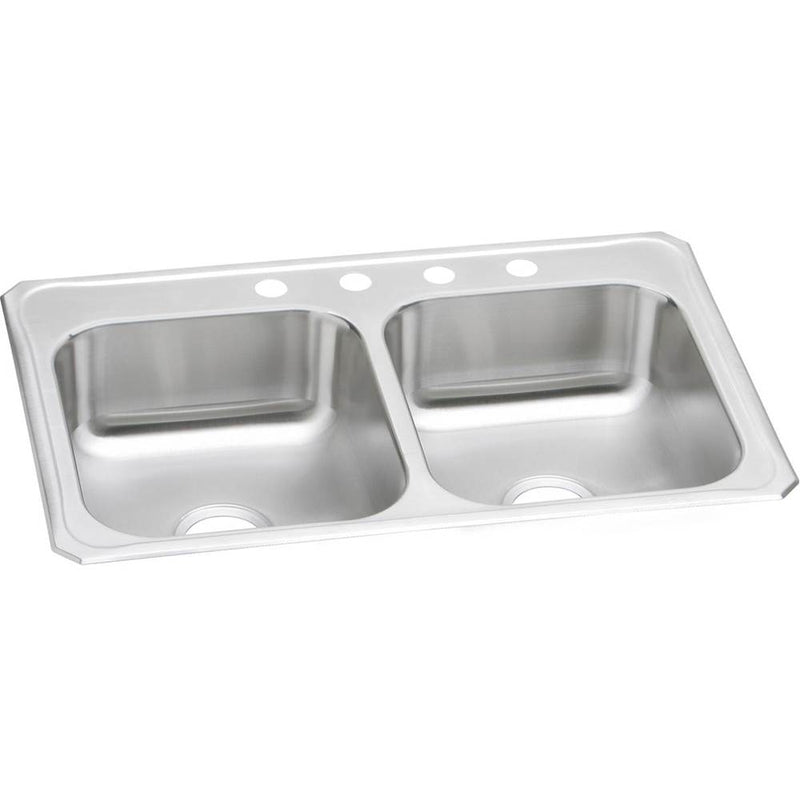 Elkay CR33224 20 Gauge Stainless Steel 33' x 22' x 7' Double Bowl Top Mount Kitchen Sink
