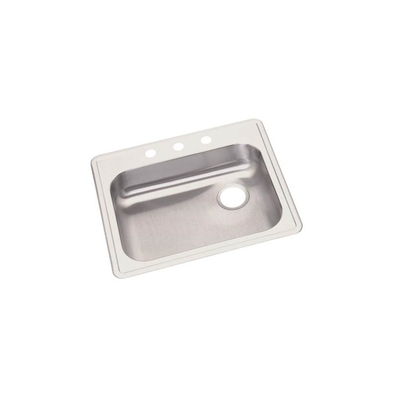 "Elkay GE12522R3 22 Gauge Stainless Steel 25"" x 22"" x 5.375"" Single Bowl Top Mount Kitchen Sink"