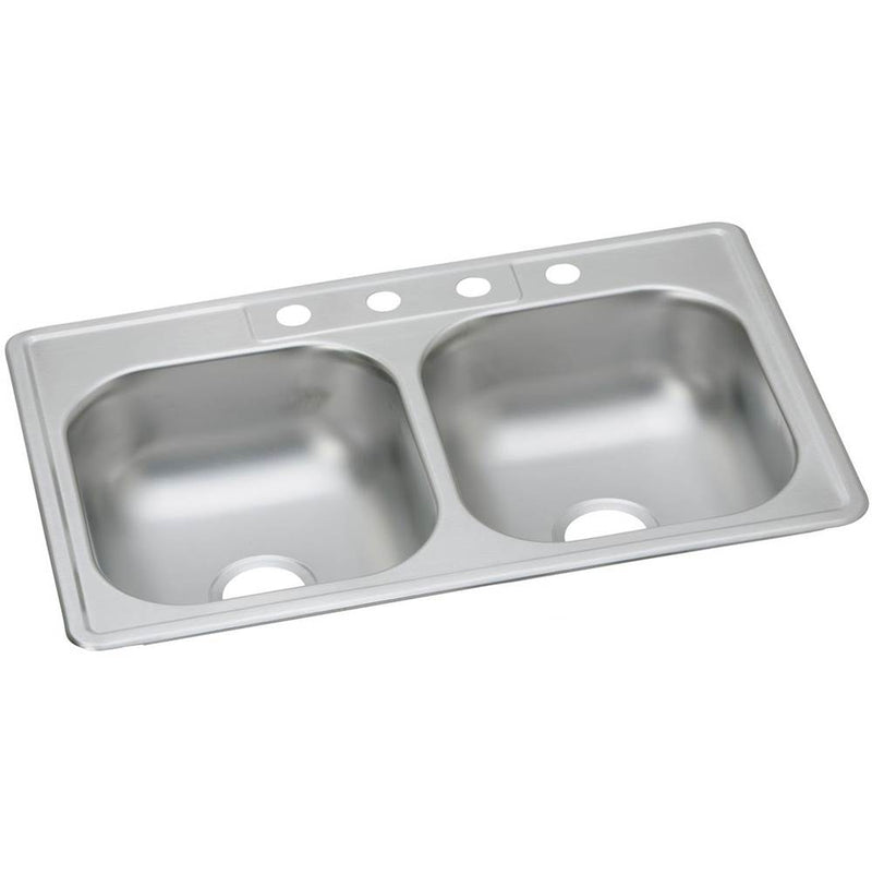 "Elkay DDW10233222 22 Gauge Stainless Steel 33"" x 22"" x 7.0625"" Double Bowl Top Mount Kitchen Sink"