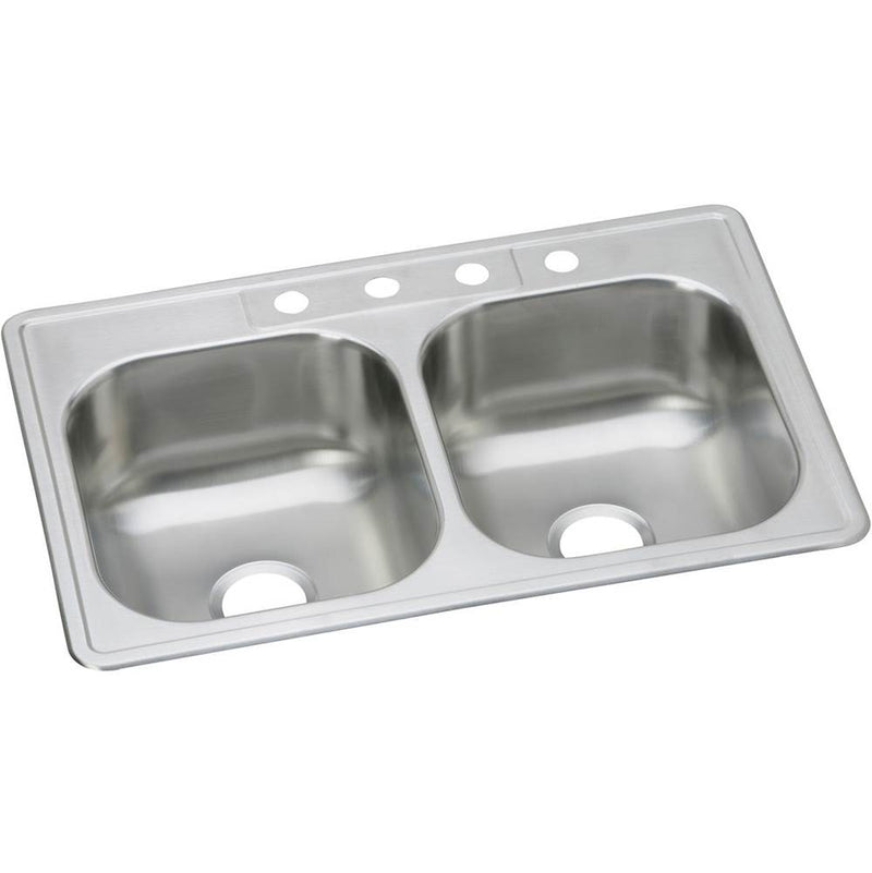 "Elkay DSE233221 20 Gauge Stainless Steel 33"" x 22"" x 8.0625"" Double Bowl Top Mount Kitchen Sink"