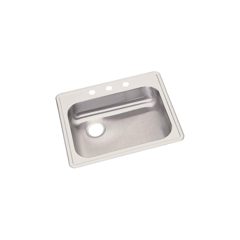 "Elkay GE12521LMR2 22 Gauge Stainless Steel 25"" x 21.25"" x 5.375"" Single Bowl Top Mount Kitchen Sink"