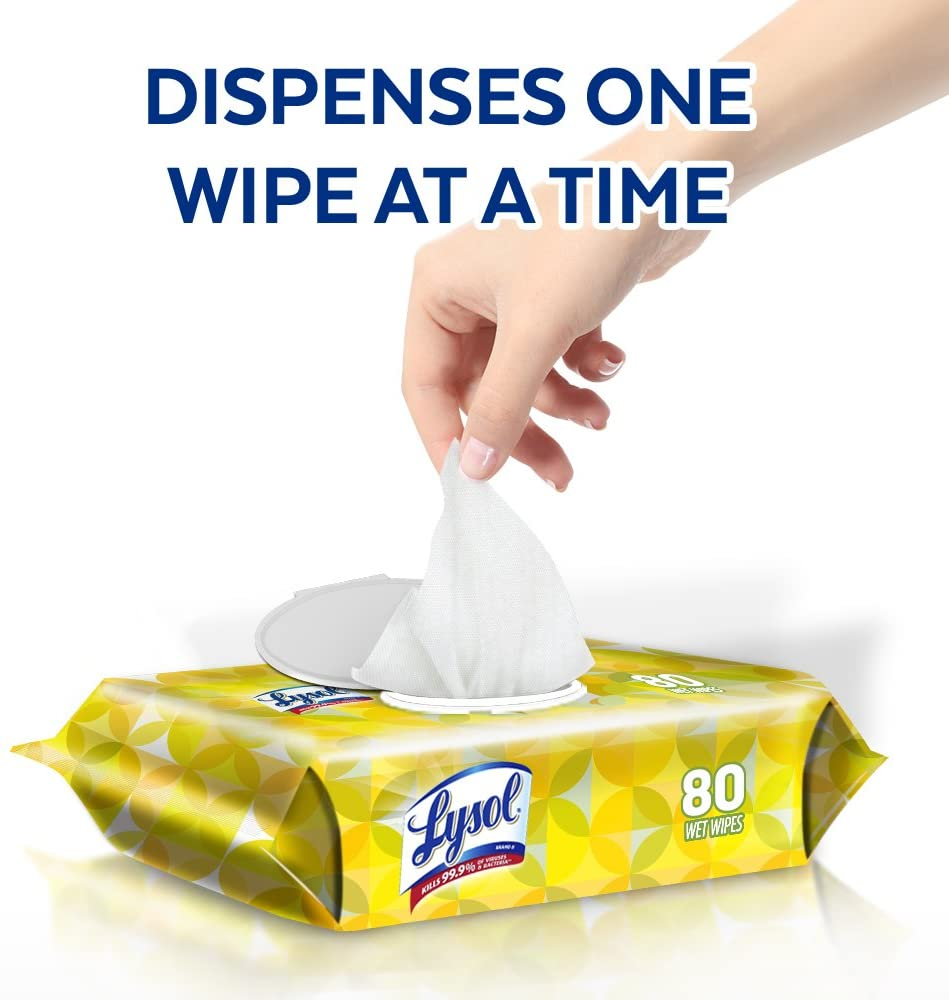 Lysol Disinfecting Wipes, Kills 99.9% of Viruses and Bacteria, 80 Wipes/Pack, 6 Packs/Case - RAC99716