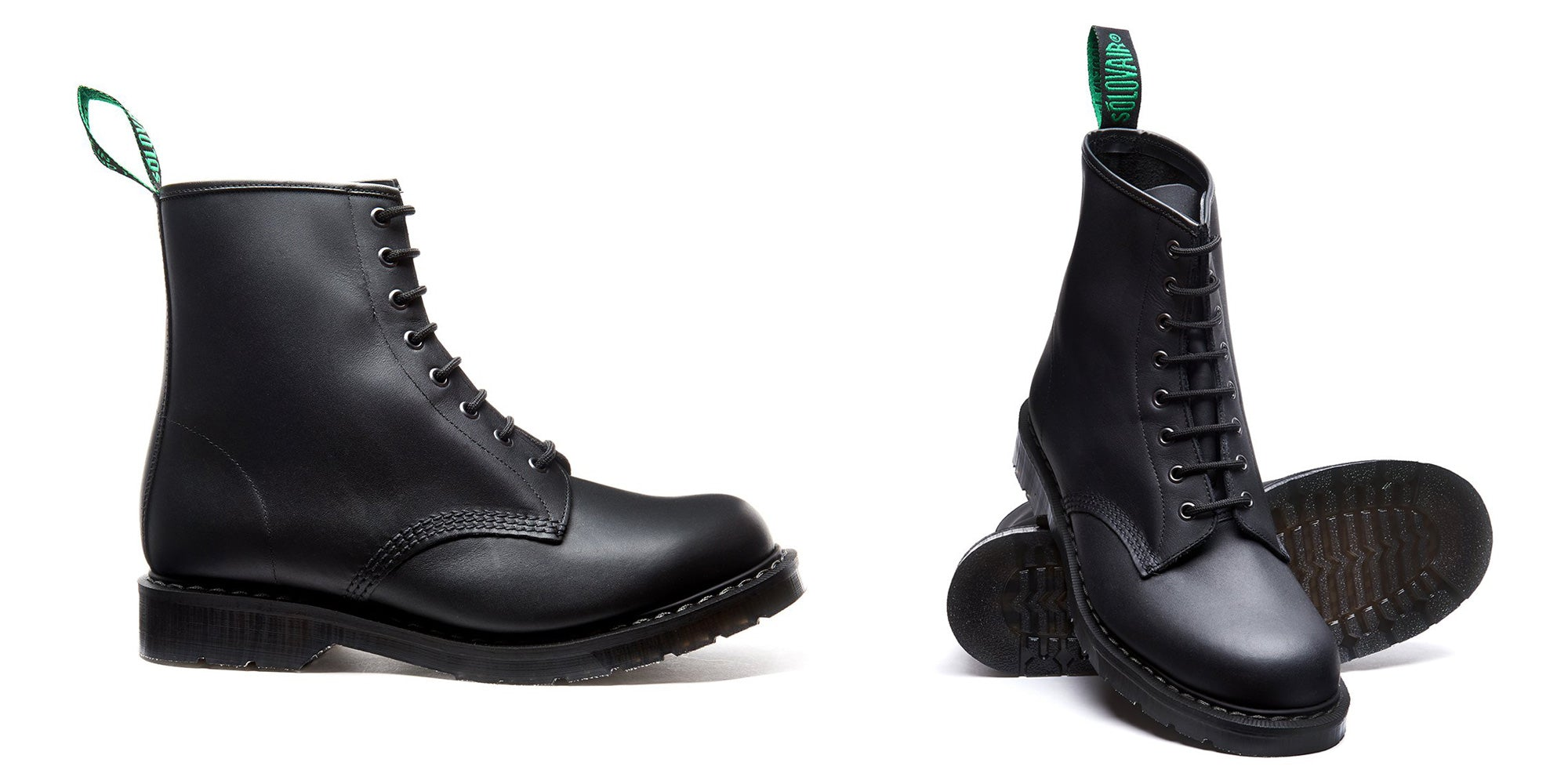 Solovair Classic Black Greasy 8 Eye Derby Boot - Made in England