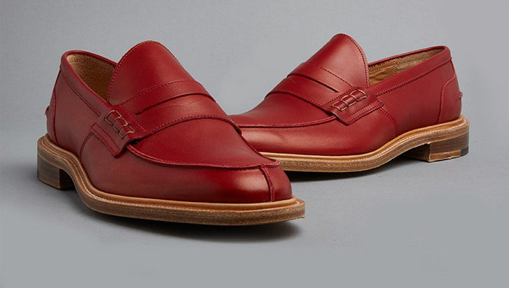 Tricker's mod penny loafers red