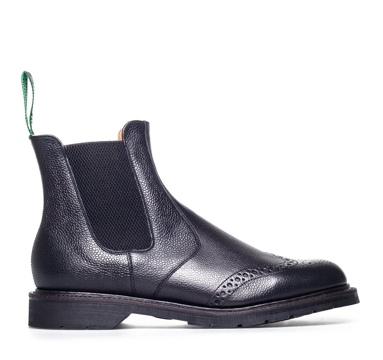 Solovair Dealer Brogue Boots - Black Grain