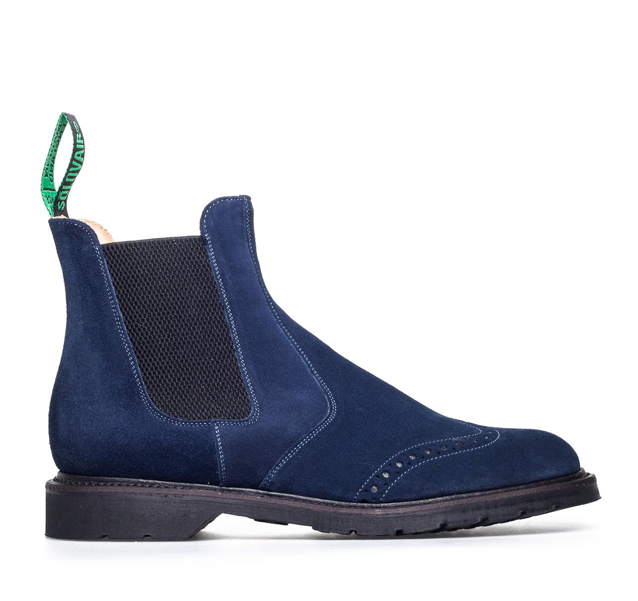 Solovair Dealer Brogue Boots - Navy Suede