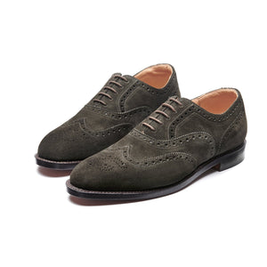 NPS Churchill Oxford Brogue - Olive Green Suede