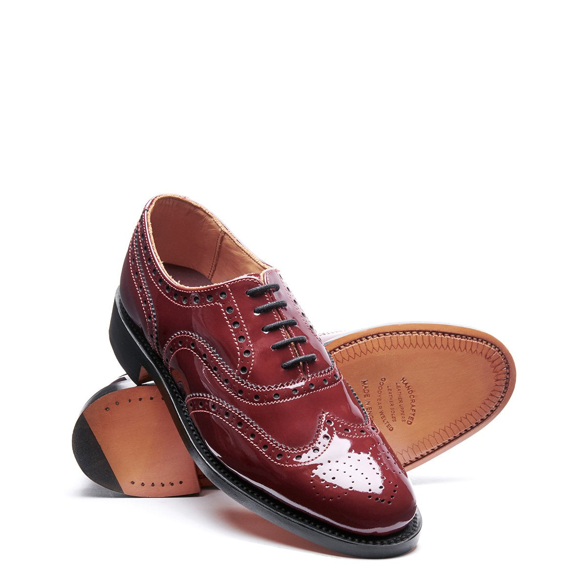 NPS Charlotte Oxford Brogue Shoe - Red Patent Pink Stitching