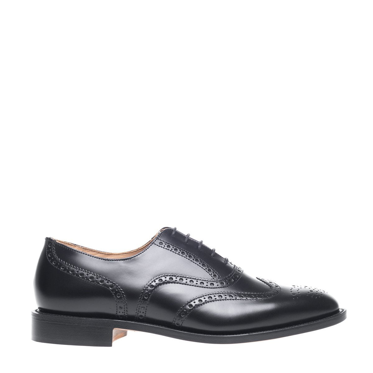 NPS Churchill Essential Oxford Brogue - Black Hi-Shine