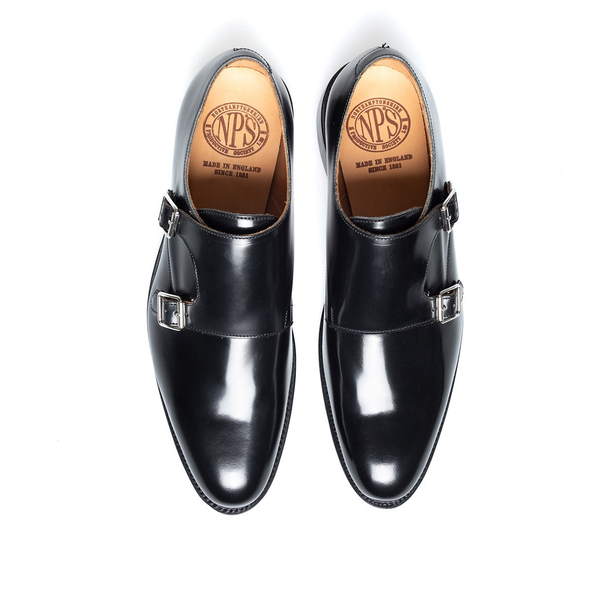 NPS Alfred Double Monk Shoe - Black Hi-Shine