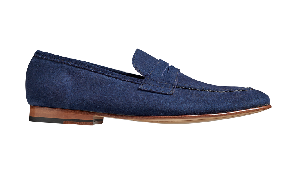 Barker Ledley Moccasin - Navy Suede Shoes
