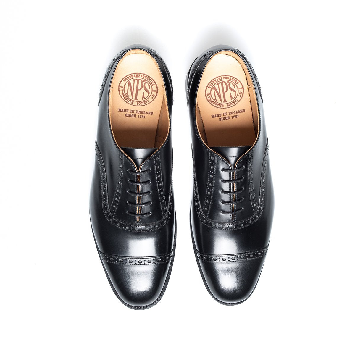 NPS Cavendish Oxford Semi-Brogue - Black Hi-Shine