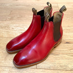 Barker Mansfield Chelsea Boots - Red Hand Painted