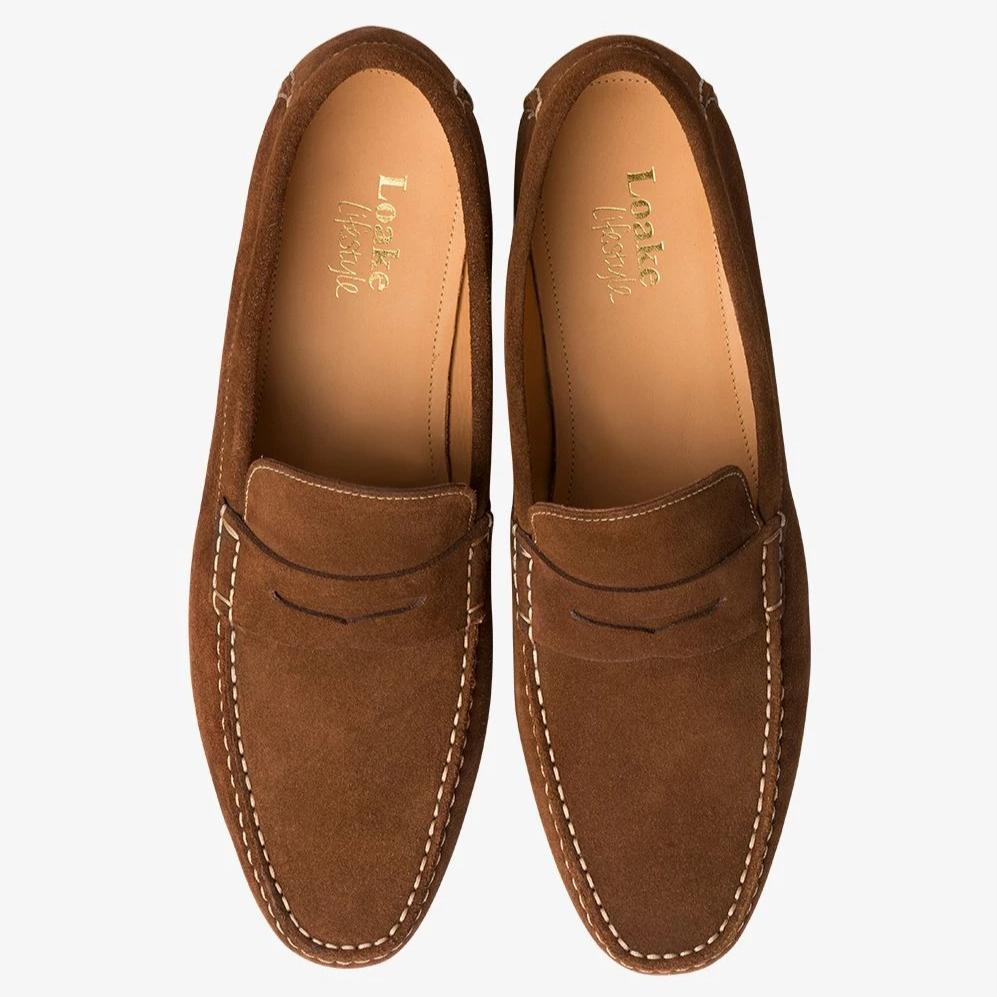 Loake Suede Goodwood Penny Loafers - Brown