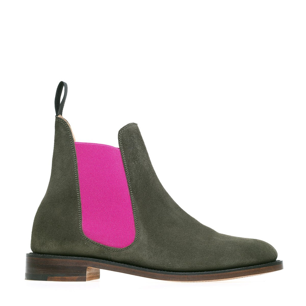 NPS Victoria Chelsea Boot - Olive Green Suede