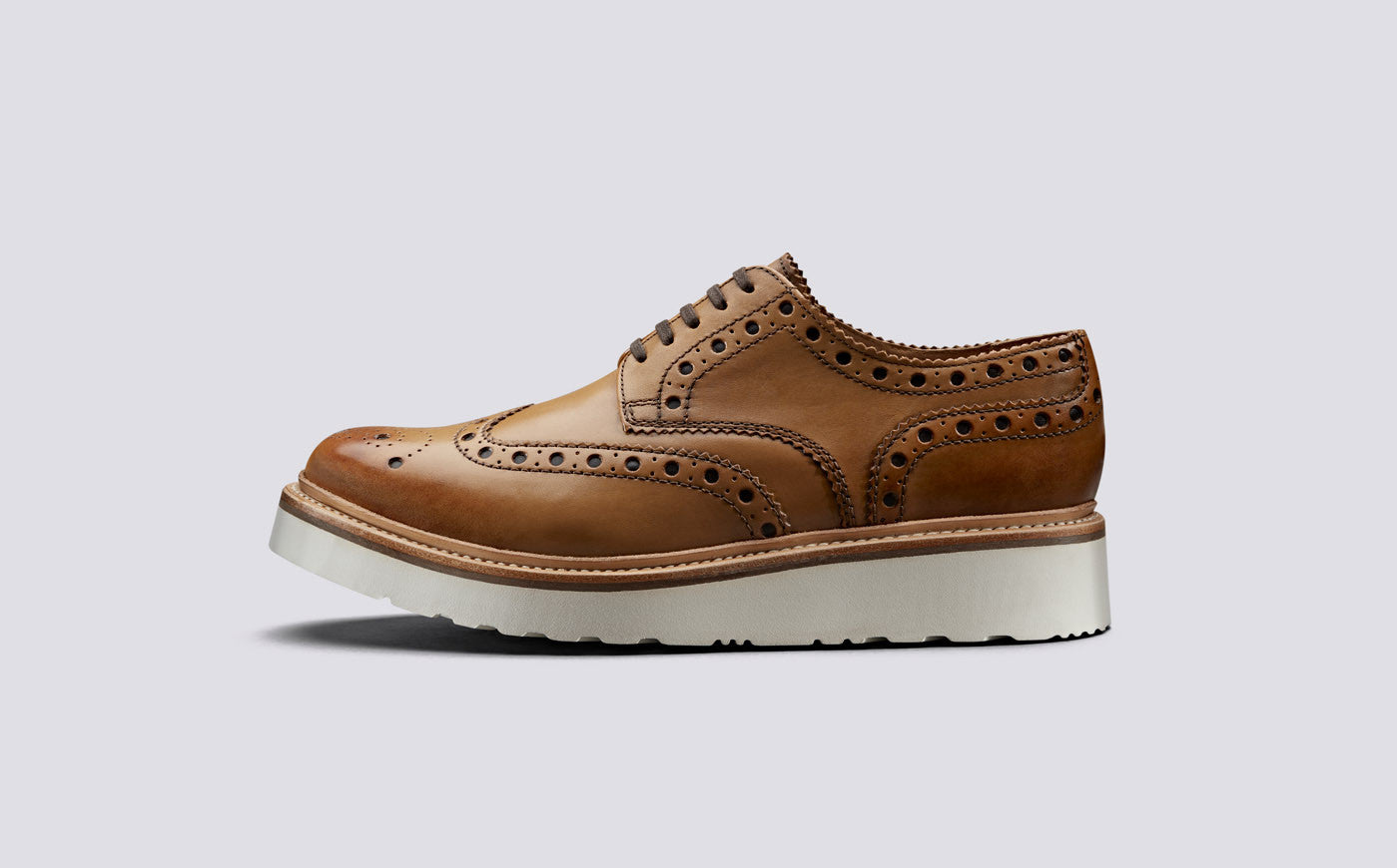 Grenson Archie Brogue Rubber Sole Shoes - Tan
