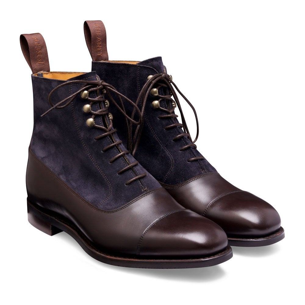 Cheaney Anna Balmoral Boots - Burnished Mocha with Oceana Suede