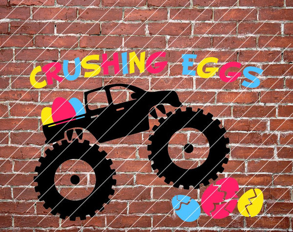 Crushing Eggs svg, Boy Easter svg, Egg Hunting svg, Egg Crusher svg, Boys Shirt Design, Easter Monster Truck Shirt svg, Cricut & Silhouette