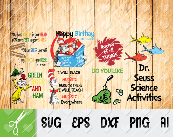 Dr Seuss bundle svg, Dr seuss svg, Dr seuss gifts, I love dr seuss, one fish svg, two fish svg, Thing 1 SVG, Thing 2 SVG
